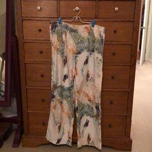 100% linen print pants